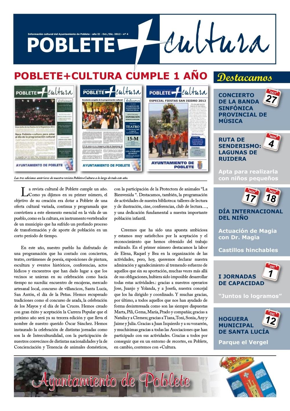 Portada de la revista Octubre 2012